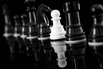 Black and white chess pieces