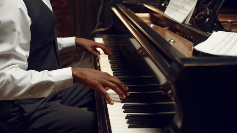 jazz performer playing notes